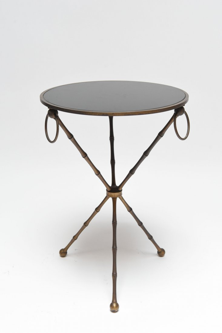 BRASS & BLACK VITROLITE GLASS OCCASIONAL TABLE