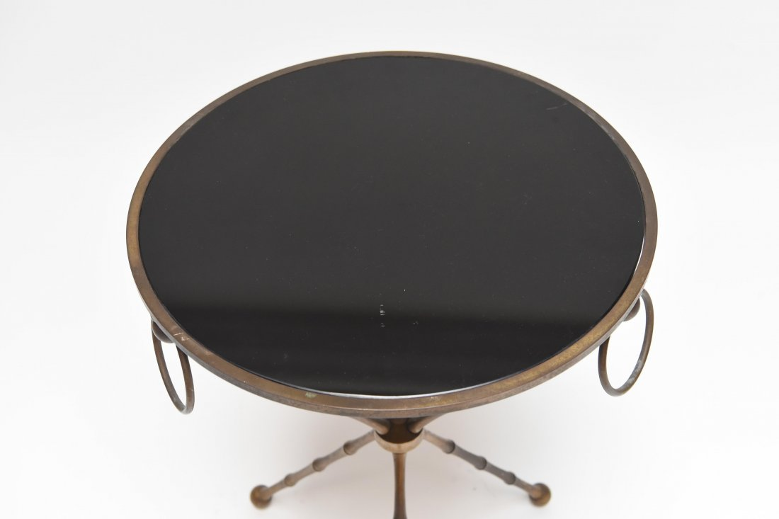 BRASS & BLACK VITROLITE GLASS OCCASIONAL TABLE - 2