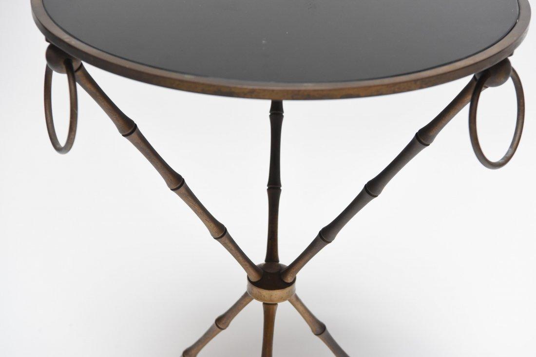 BRASS & BLACK VITROLITE GLASS OCCASIONAL TABLE - 3