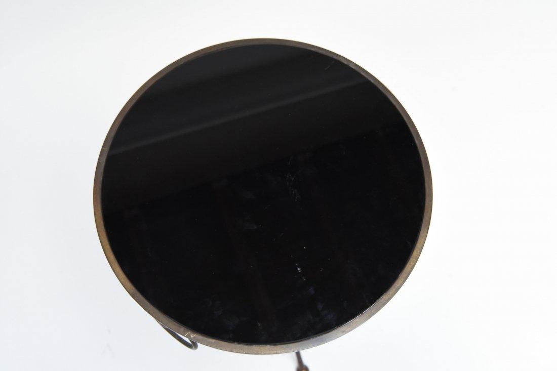 BRASS & BLACK VITROLITE GLASS OCCASIONAL TABLE - 7