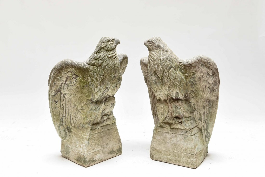 (2) ANTIQUE CONCRETE EAGLES