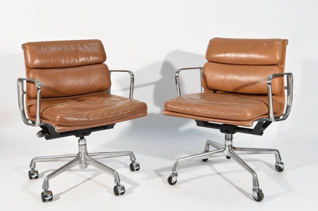 PAIR EAMES BROWN SOFT PAD CHAIRS