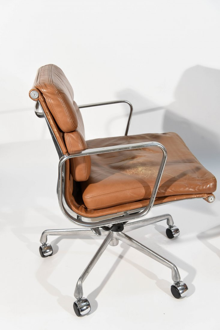 PAIR EAMES BROWN SOFT PAD CHAIRS - 7