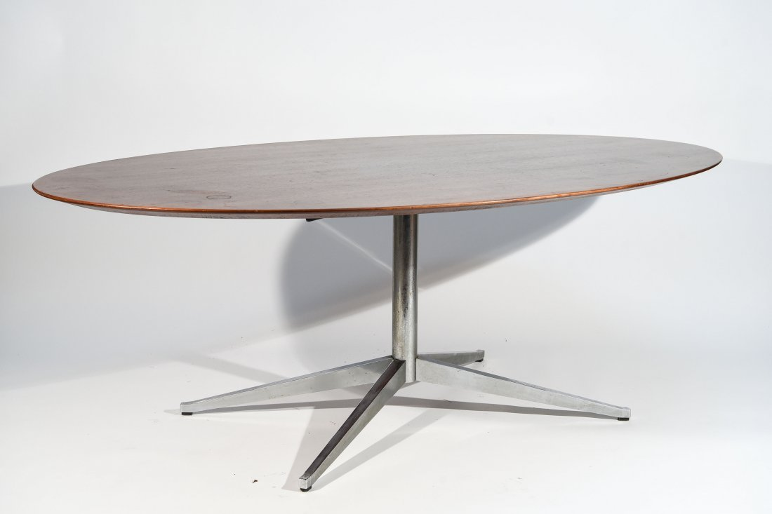FLORENCE KNOLL STEEL & ROSEWOOD DINING TABLE