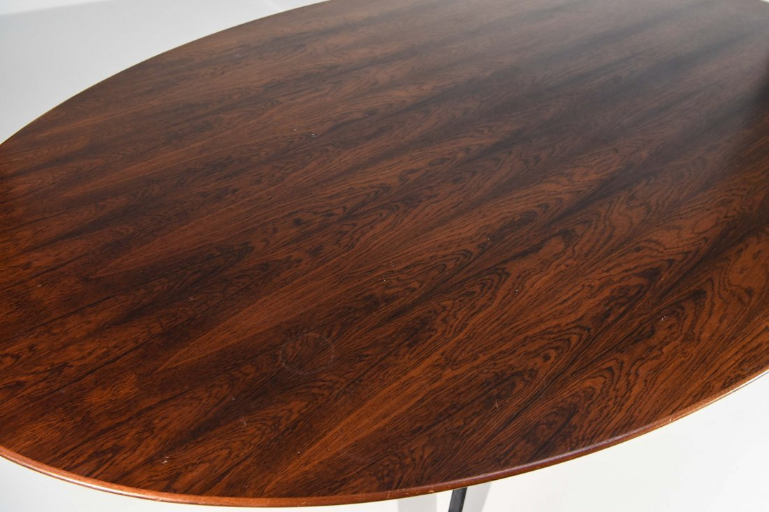 FLORENCE KNOLL STEEL & ROSEWOOD DINING TABLE - 4