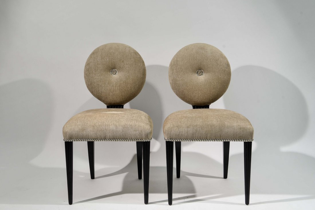 PAIR OF GROSFELD HOUSE UPHOLSTERED CHAIRS