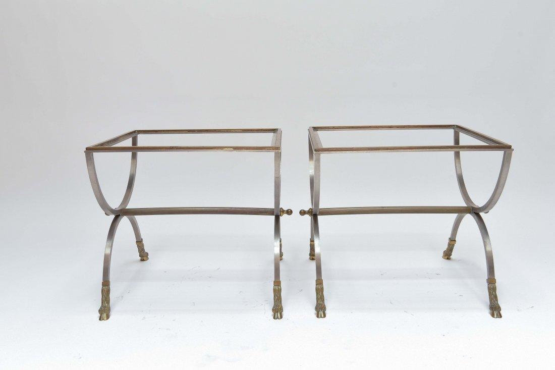 (2) MAISON JENSEN BRASS & STEEL SIDE TABLES