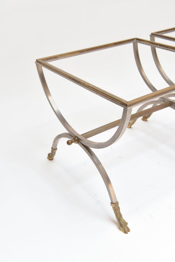 (2) MAISON JENSEN BRASS & STEEL SIDE TABLES - 3