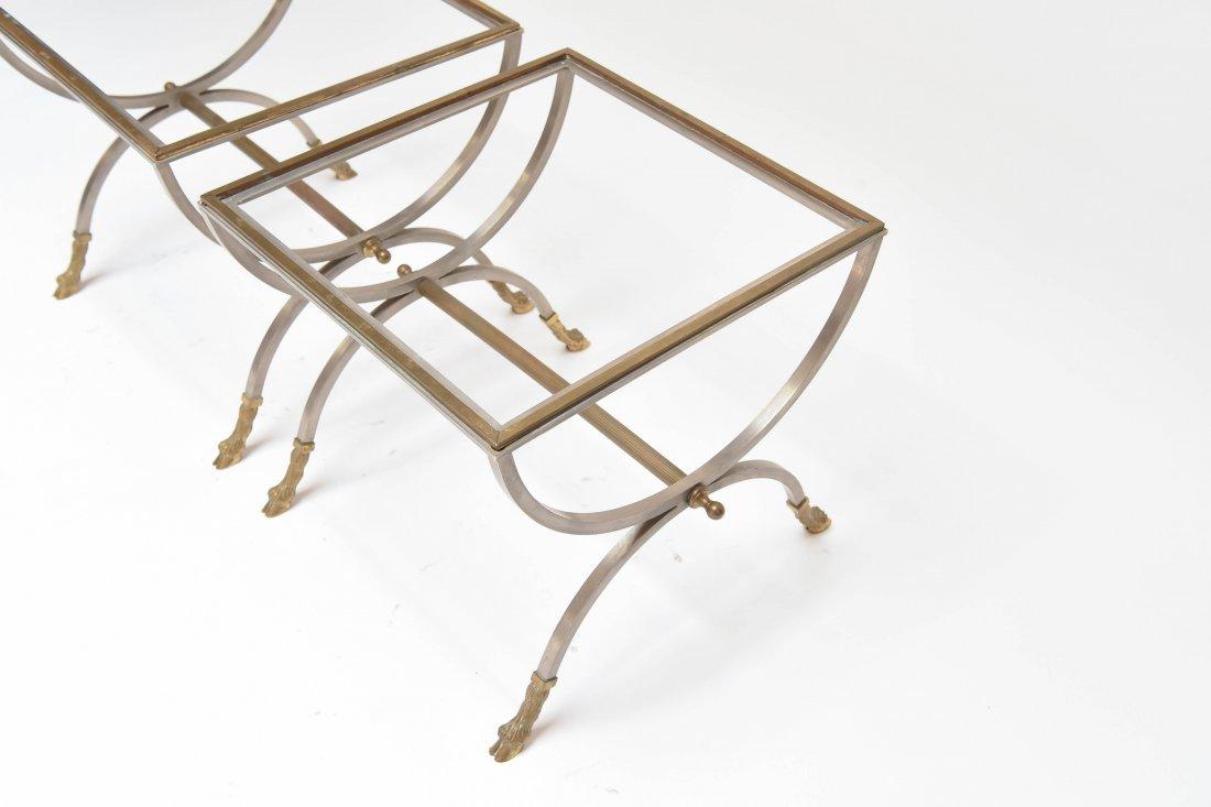 (2) MAISON JENSEN BRASS & STEEL SIDE TABLES - 4
