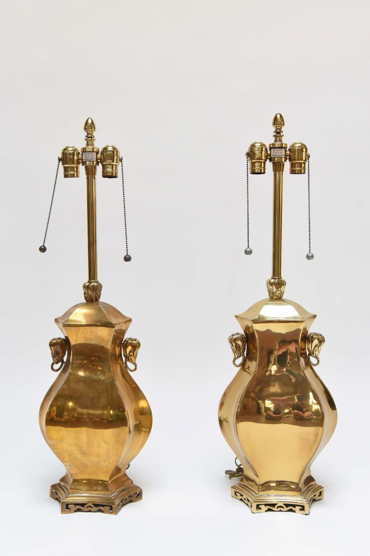 PAIR OF BRASS ASIAN STYLE LAMPS