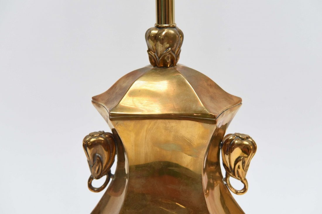 PAIR OF BRASS ASIAN STYLE LAMPS - 4