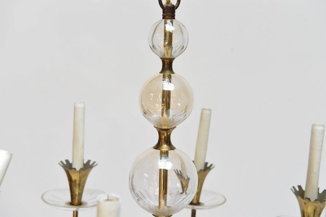 LIGHTOLIER BRASS & GLASS CHANDELIER - 2