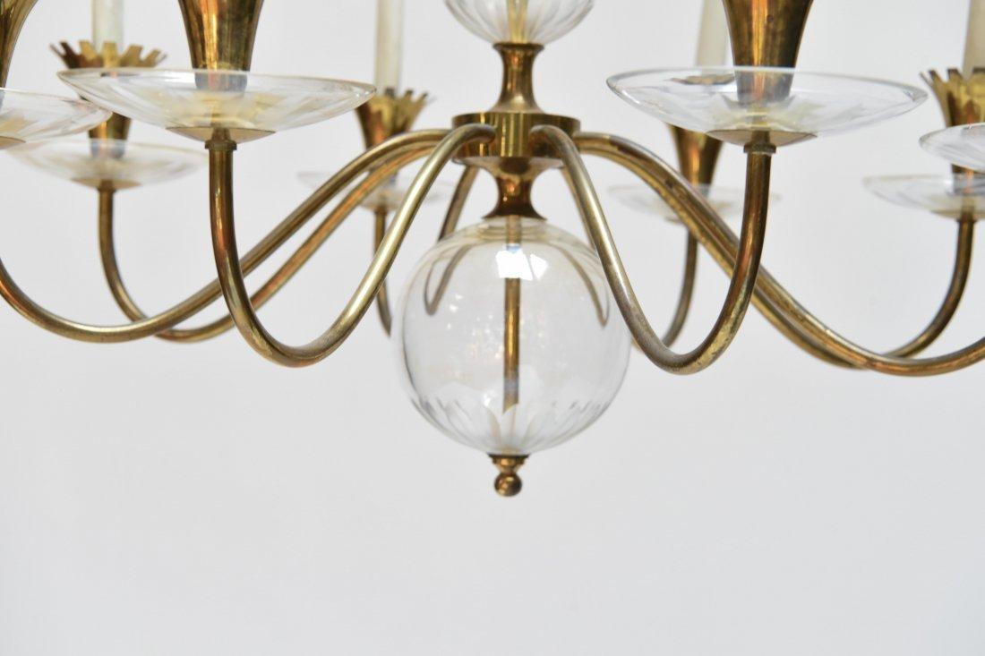 LIGHTOLIER BRASS & GLASS CHANDELIER - 5