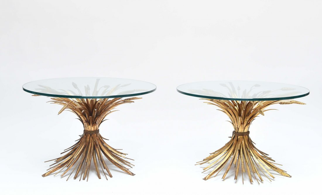 (2) ITALIAN MID-CENTURY SHEAF OF WHEAT TABLES