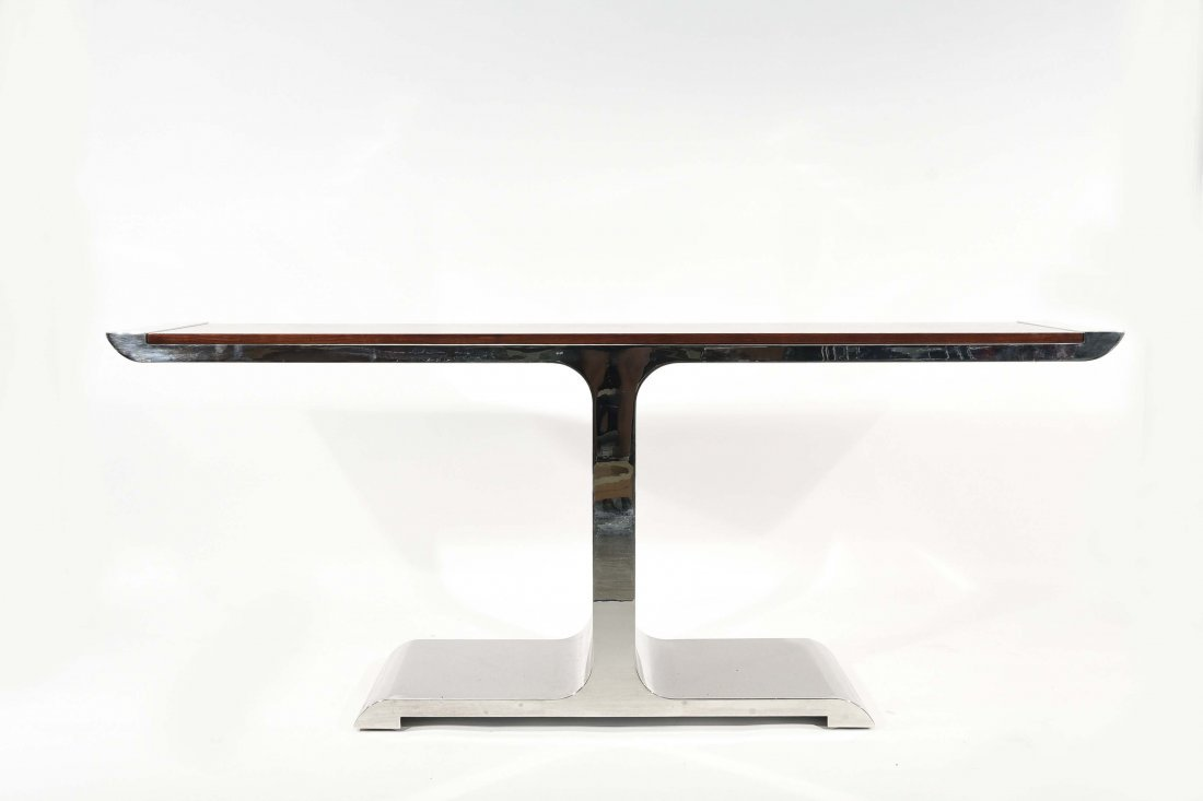 BRUETON STEEL & WOOD CONSOLE TABLE