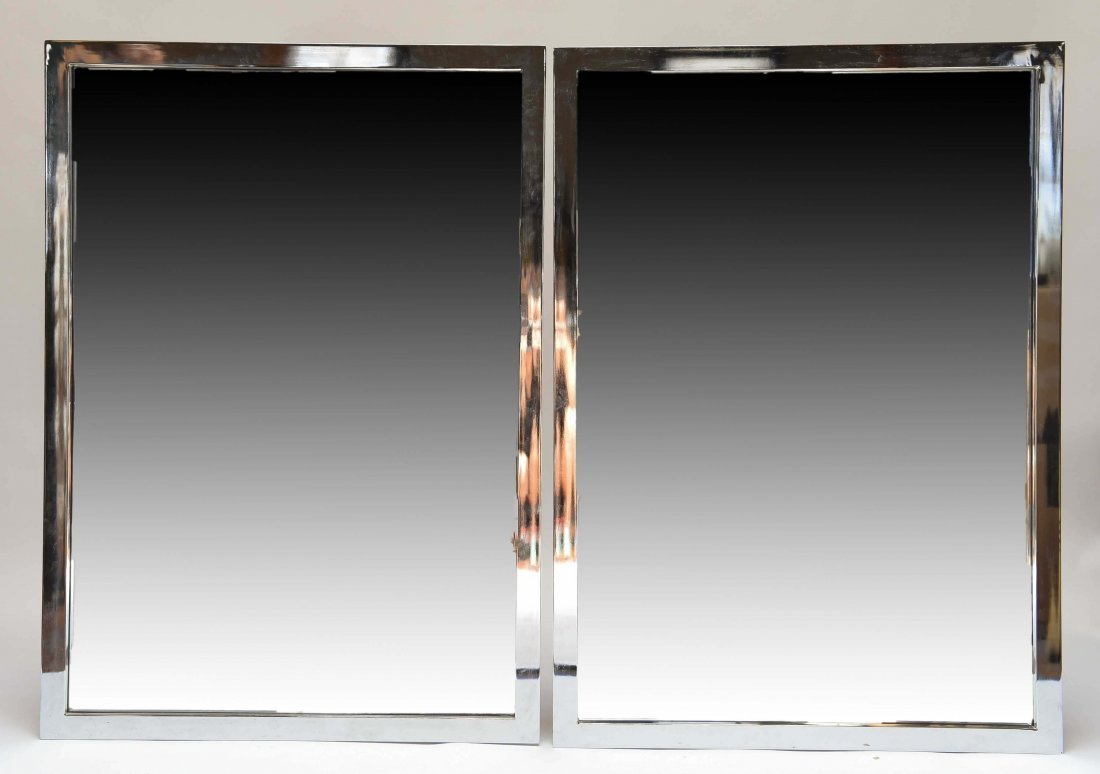 PAIR OF CHROME STEEL FRAME WALL MIRRORS