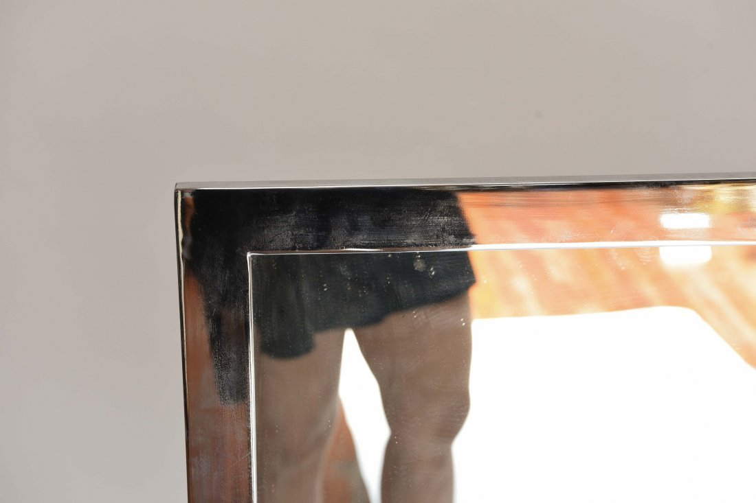 PAIR OF CHROME STEEL FRAME WALL MIRRORS - 2