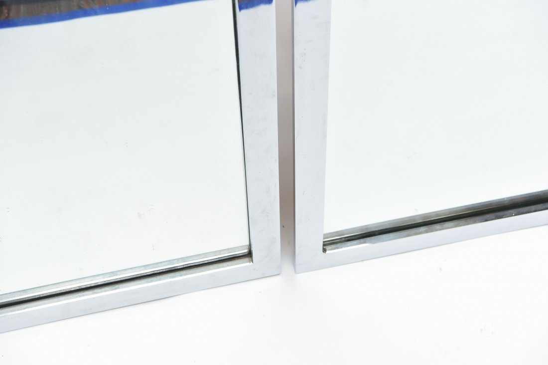PAIR OF CHROME STEEL FRAME WALL MIRRORS - 4