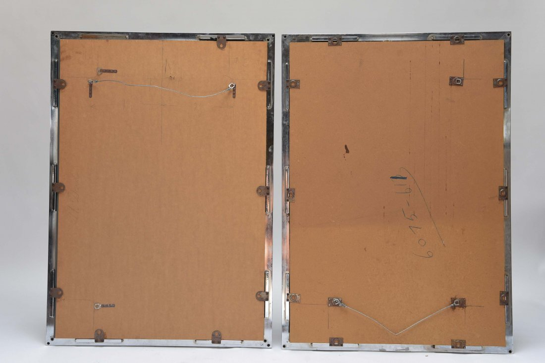PAIR OF CHROME STEEL FRAME WALL MIRRORS - 6