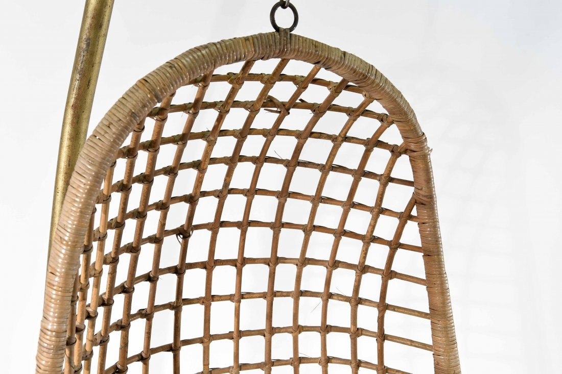 MID-CENTURY RATTAN HANGING EGG CHAIR - 8