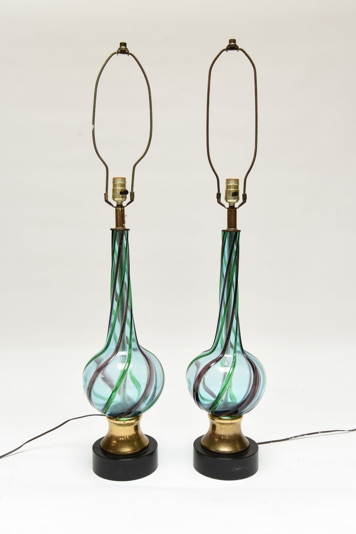 PAIR OF ITALIAN VENINI MURANO GLASS TABLE LAMPS