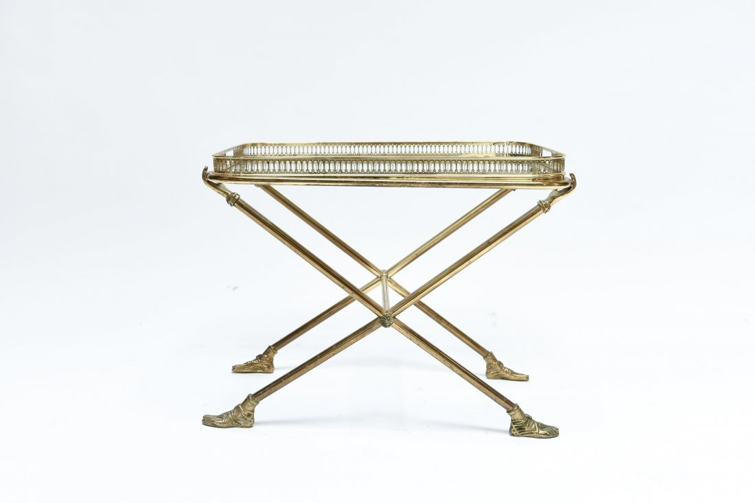 ITALIAN 1960S BRASS AND GLASS SIDE TABLE