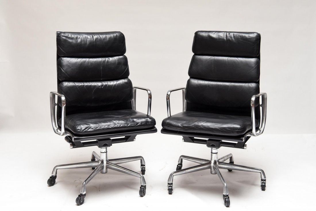 PAIR EAMES HIGH BACK SOFT PAD CHAIRS