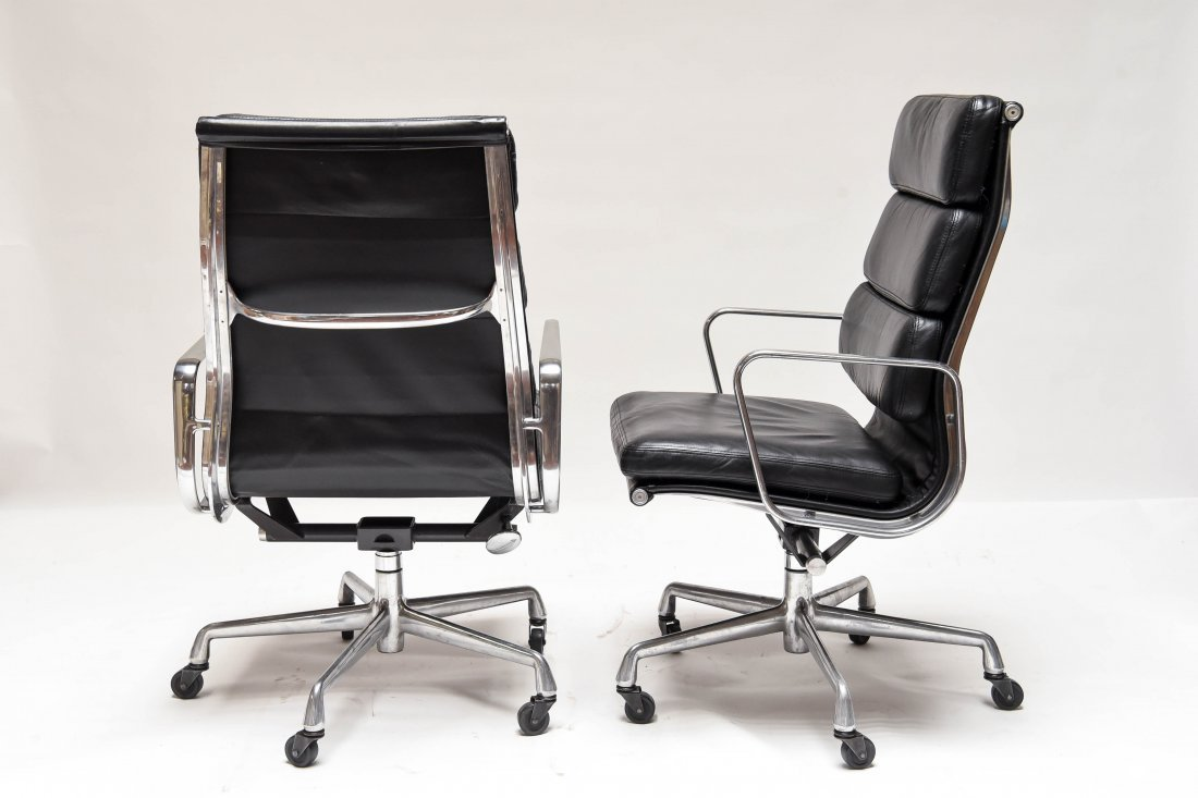 PAIR EAMES HIGH BACK SOFT PAD CHAIRS - 8