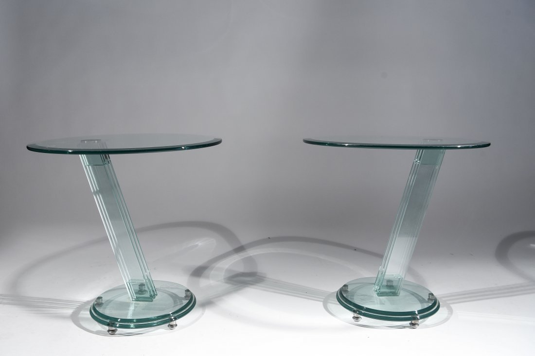 PAIR FONTANA ARTE STYLE GLASS ROUND SIDE TABLES