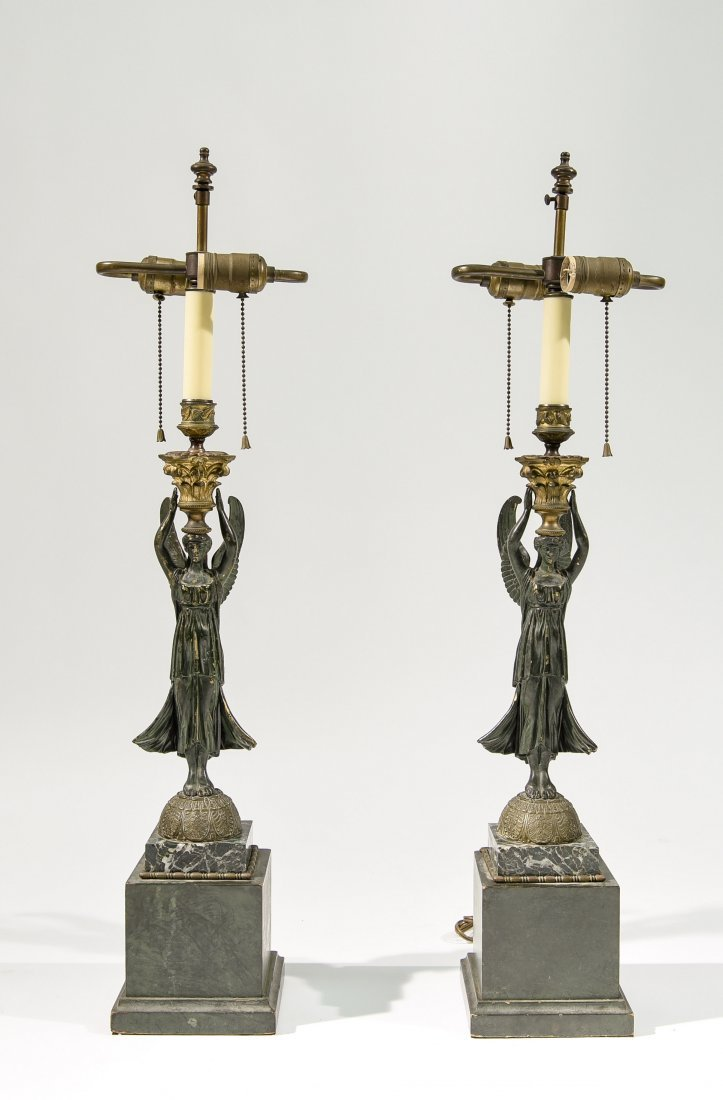 PAIR CLASSICAL FRENCH STYLE BRONZE LAMPS
