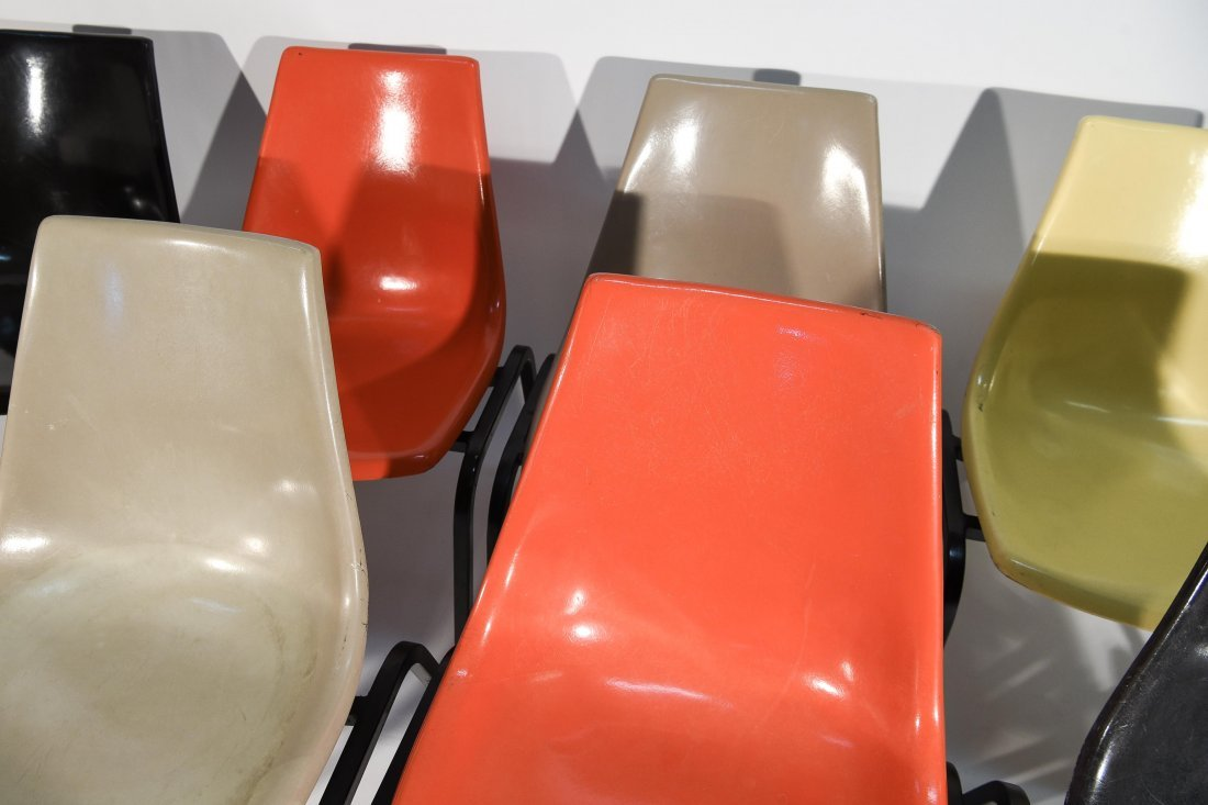 (8) EAMES SYLE STACKING FIBERGLASS CHAIRS - 6