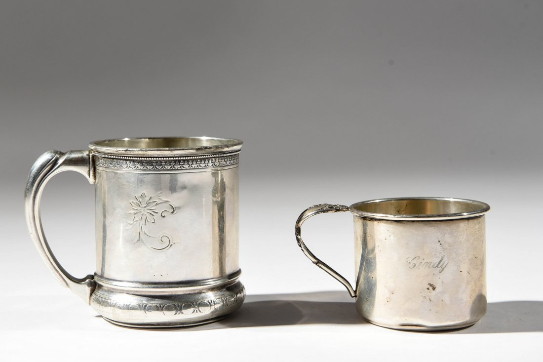 (2) EARLY STERLING SILVER MUGS