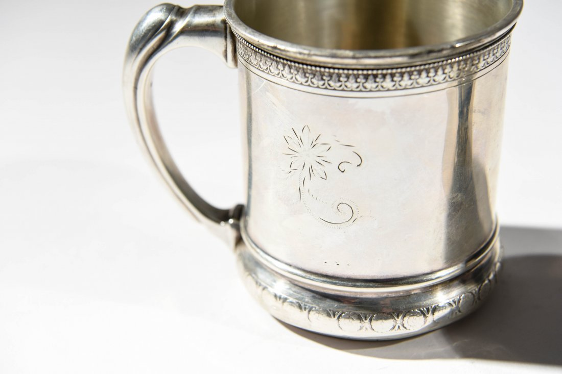 (2) EARLY STERLING SILVER MUGS - 3