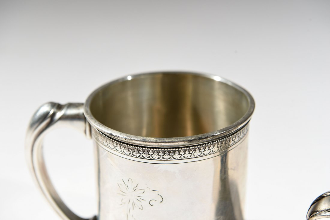 (2) EARLY STERLING SILVER MUGS - 4