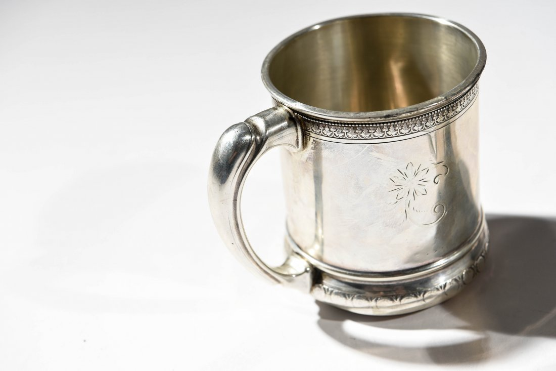 (2) EARLY STERLING SILVER MUGS - 6