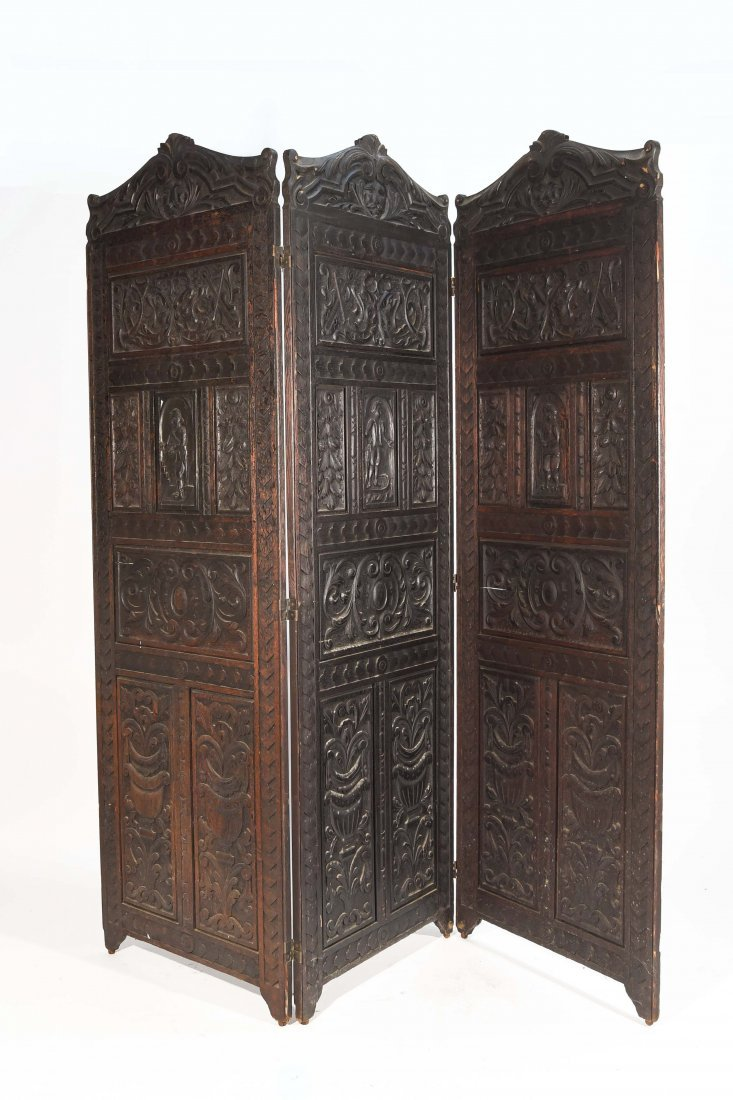 19TH C. CARVED THREE PANEL SCREEN