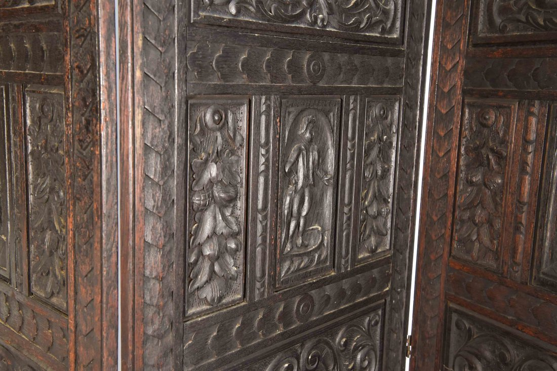 19TH C. CARVED THREE PANEL SCREEN - 2