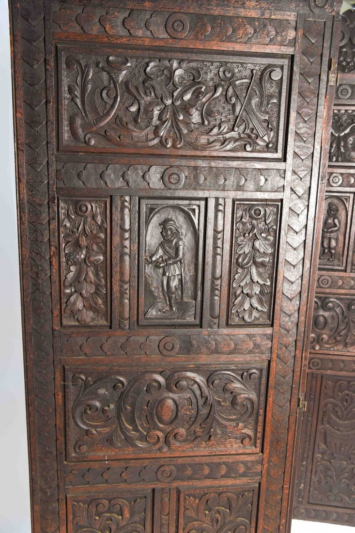 19TH C. CARVED THREE PANEL SCREEN - 3