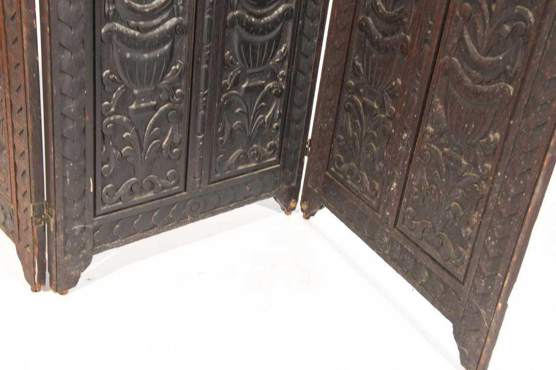 19TH C. CARVED THREE PANEL SCREEN - 5