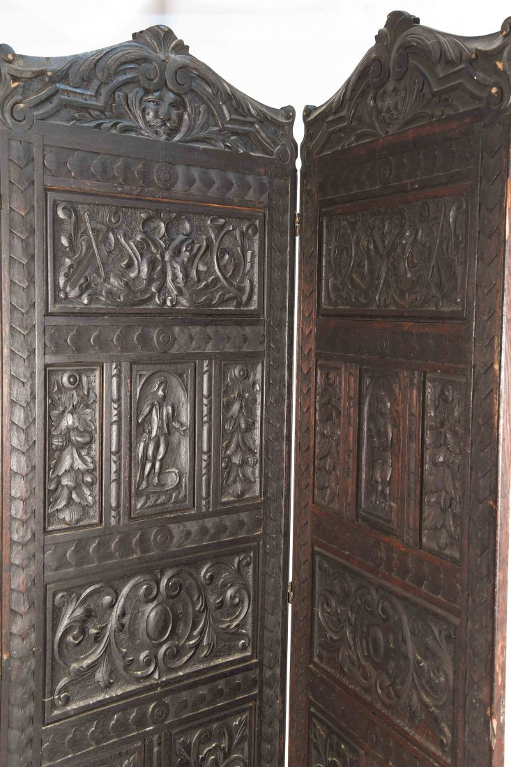 19TH C. CARVED THREE PANEL SCREEN - 6