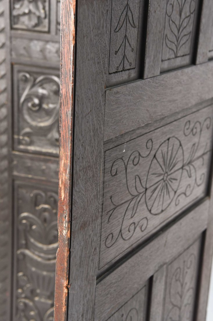 19TH C. CARVED THREE PANEL SCREEN - 7