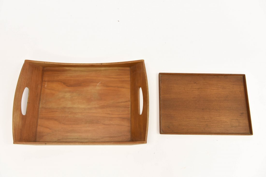 TWO TEAK TRAYS