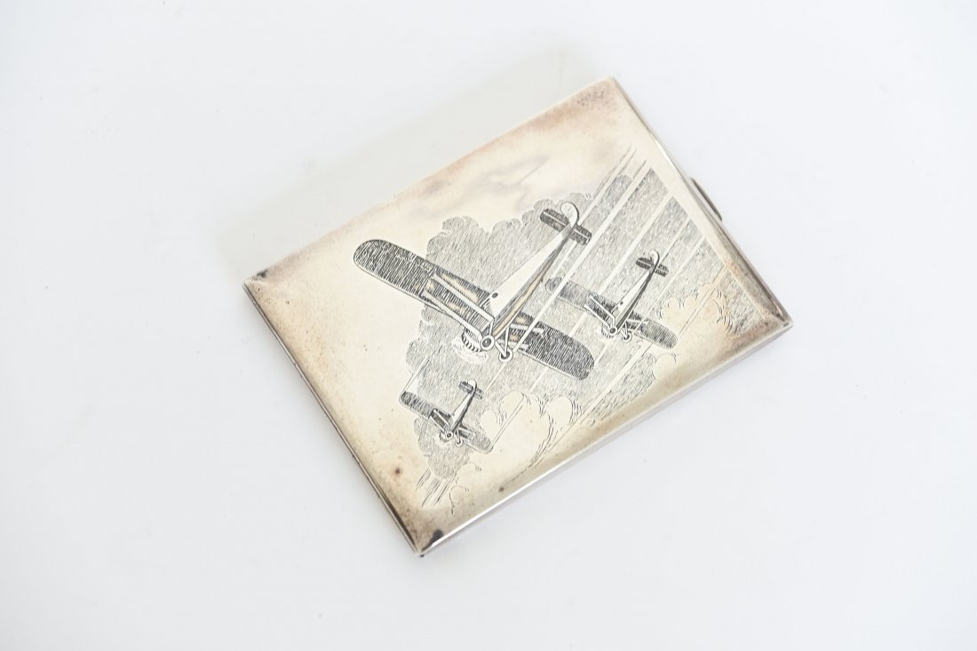 STERLING SILVER AIRPLANE ENGRAVED CIGARETTE BOX