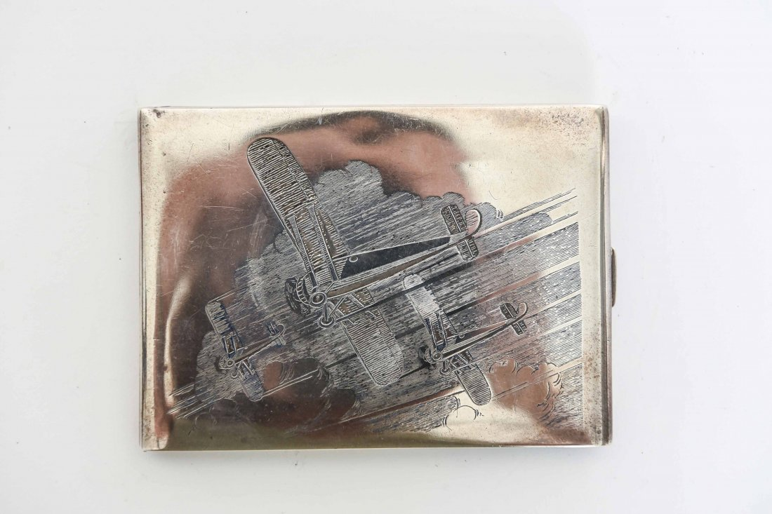 STERLING SILVER AIRPLANE ENGRAVED CIGARETTE BOX - 3