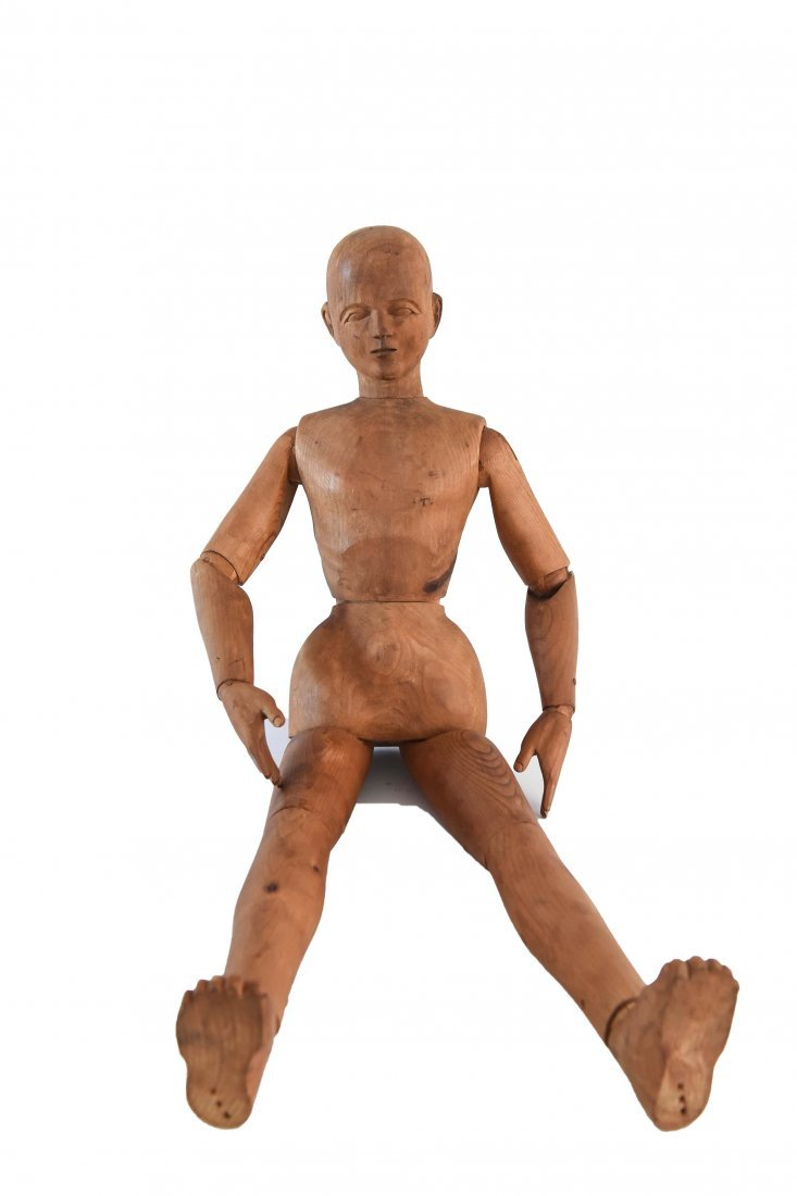 LARGE CARVED WOOD MANNEQUIN FIGURE