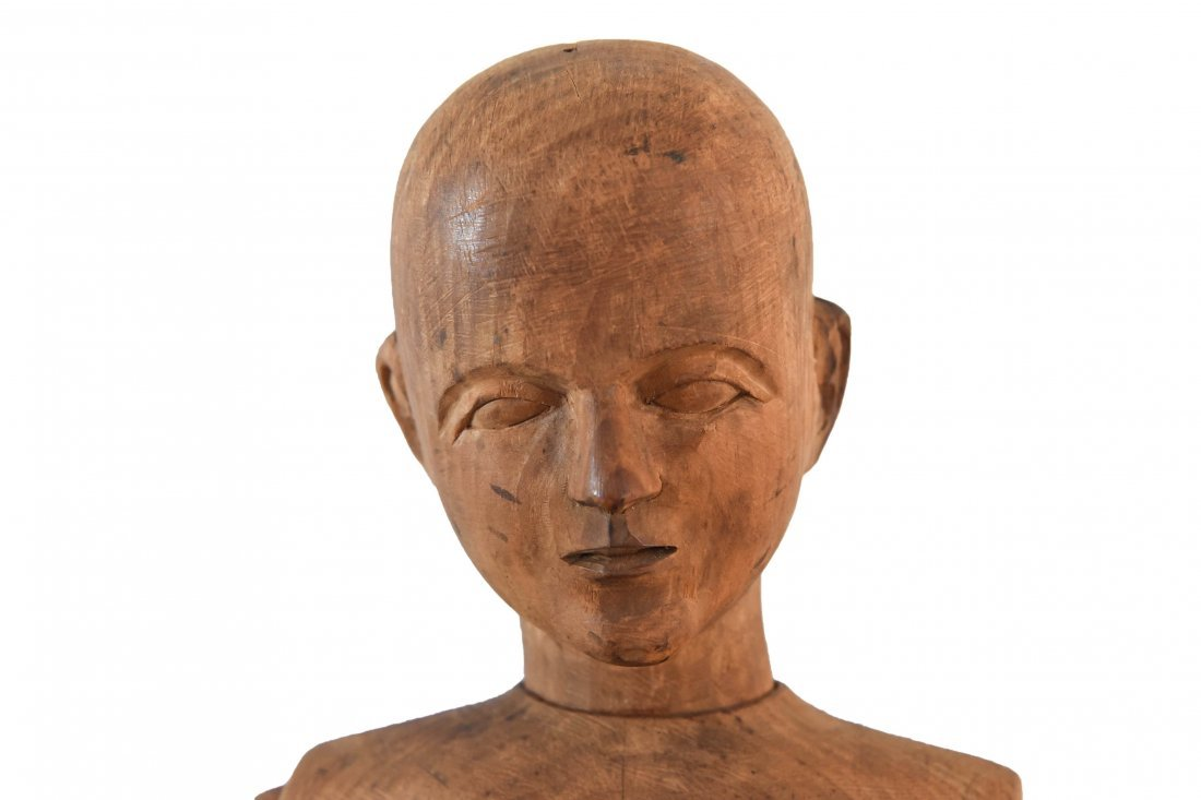 LARGE CARVED WOOD MANNEQUIN FIGURE - 2