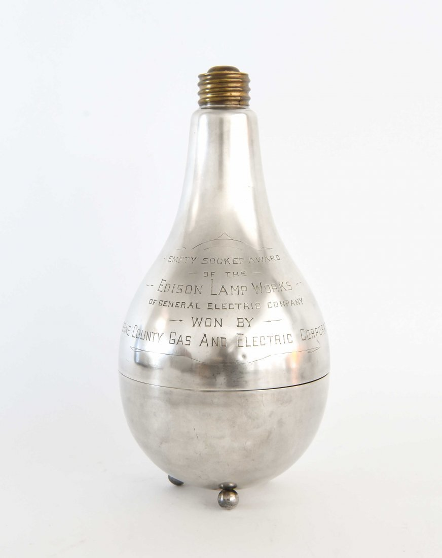 STERLING SILVER EDISON LIGHT BULB TROPHY