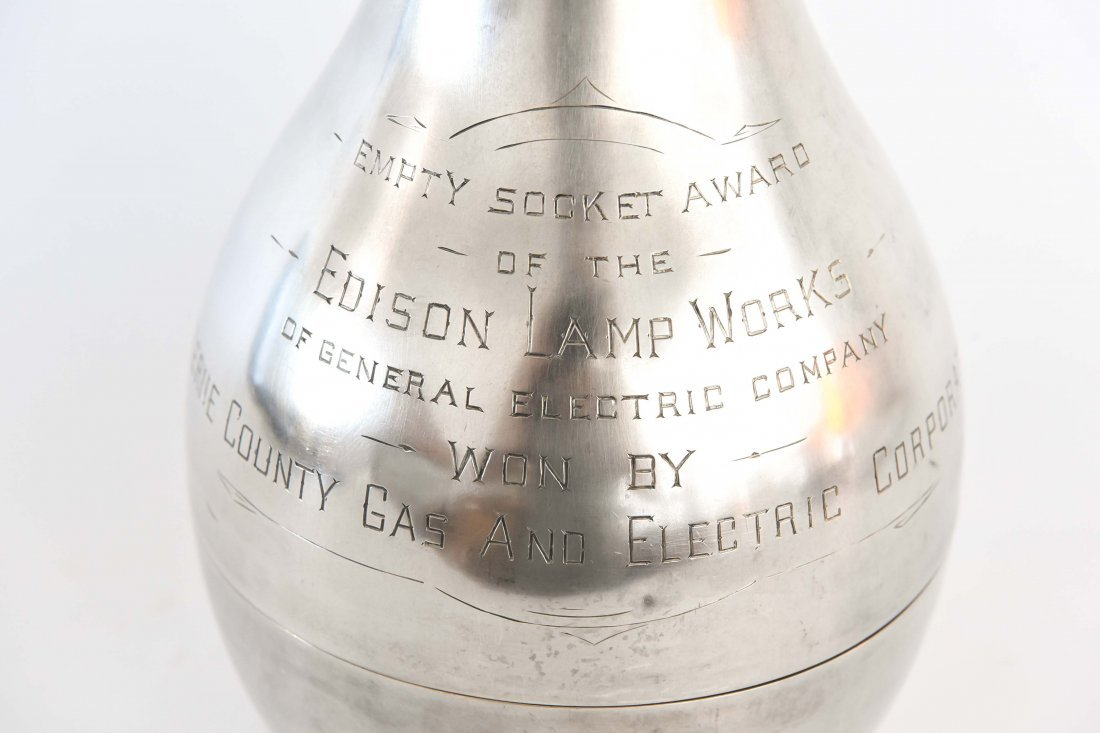 STERLING SILVER EDISON LIGHT BULB TROPHY - 2