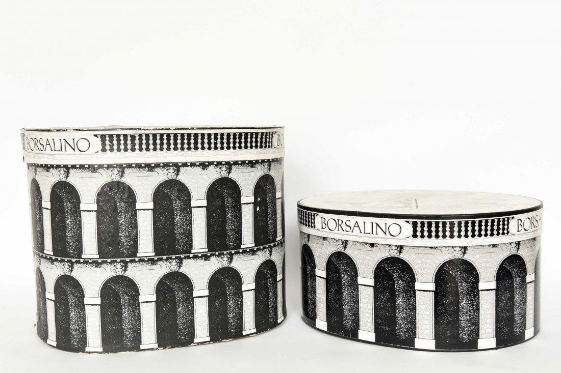 (2) FORNASETTI STYLE BORSALINO HAT BOXES