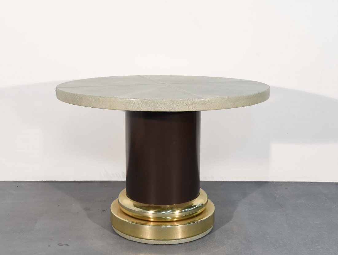 MID-CENTURY GLASS & BRASS TABLE W/ SHAGREEN COVER